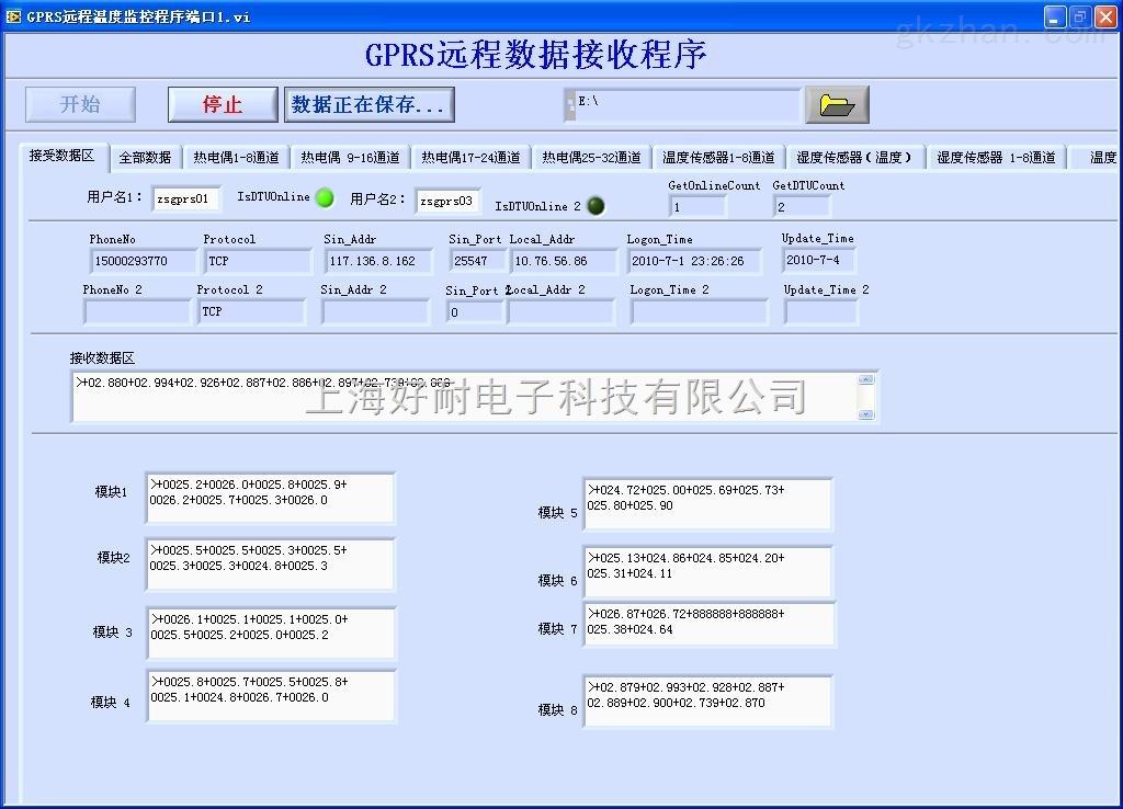 远程汽车内部温度湿度分布测量系统