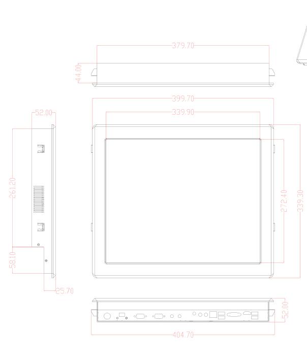 桌面式无人机控制电脑定制尺寸图